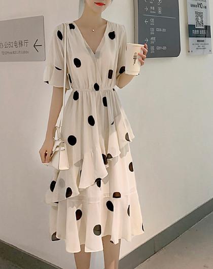 韩版V领短袖大波点雪纺裙(图1)