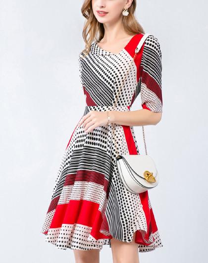 个性不规则斜V领印花收腰显瘦A字雪纺连衣裙(图1)