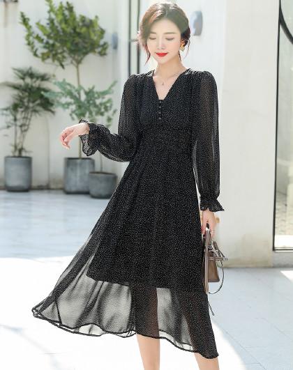 韩版时尚荷叶边领系绳打底长袖雪纺连衣裙(图1)